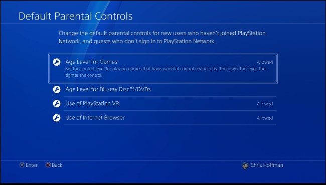 PS4 default parental controls