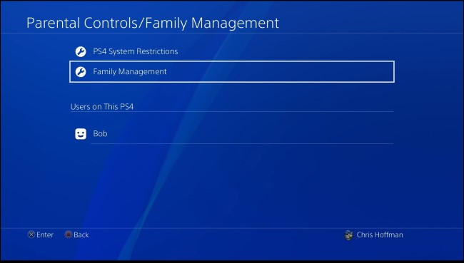 PS4 family management