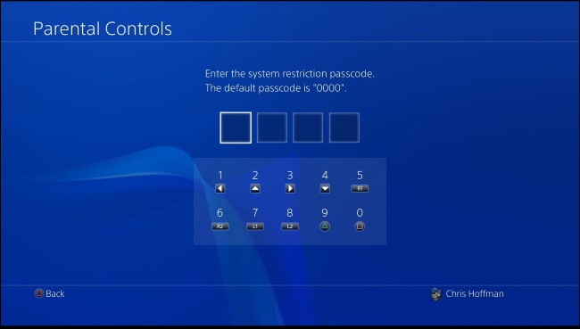 PS4 parental control passcode