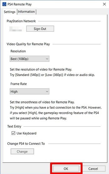PS4 settings on PC