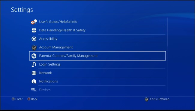 Play station parental control settings