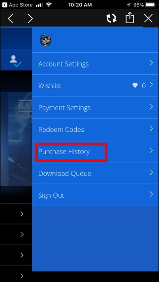 Purchase history sony play store