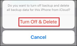 Turn off and delete backup from iCloud