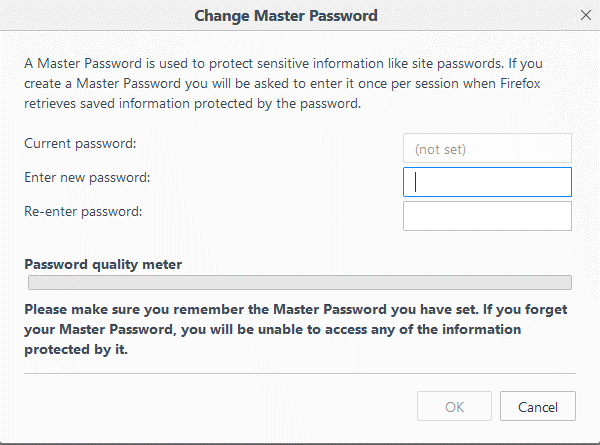 Use Master Password to Keep Other Passwords Safe