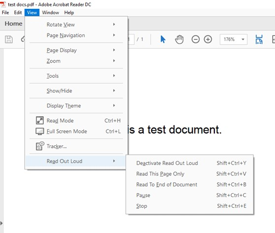 View read out loud adobe reader