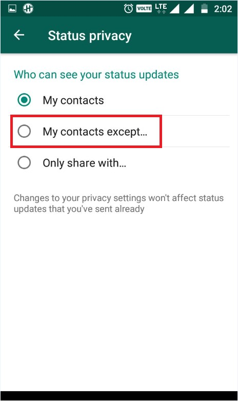 Whatsapp status privacy
