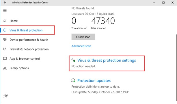 Windows Defender Security Center virus and threat protection