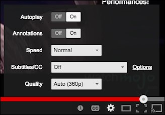 You tube settings