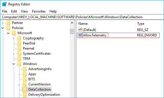allow telementry in data collection