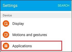 application settings