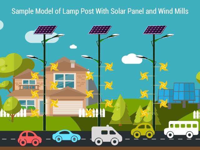 solar panel on stree light