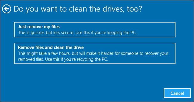 clean drive to reset pc