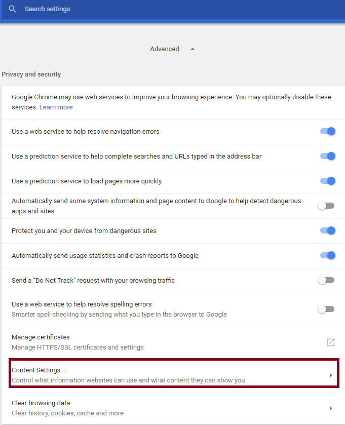 content settings in chrome