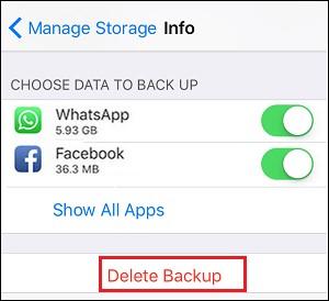 delete backup icloud