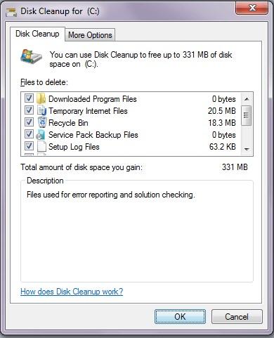disk cleanup option