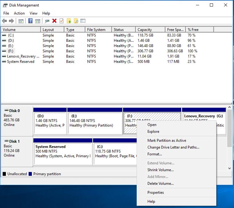 disk management in windows 10