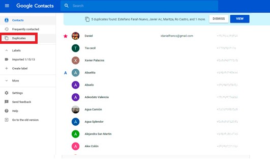 duplicate google contacts