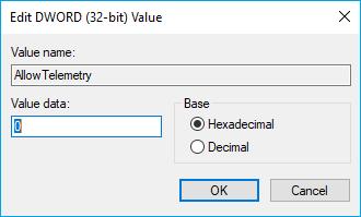 edit telementry value in registry