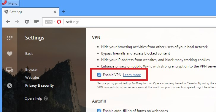 enable opera VPN