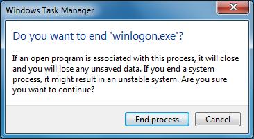 end process of winlogon exe