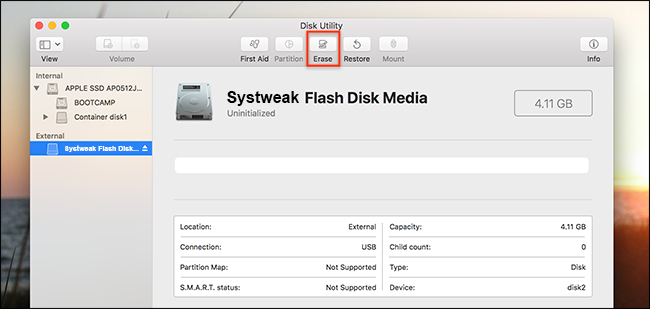 erase mac external disk