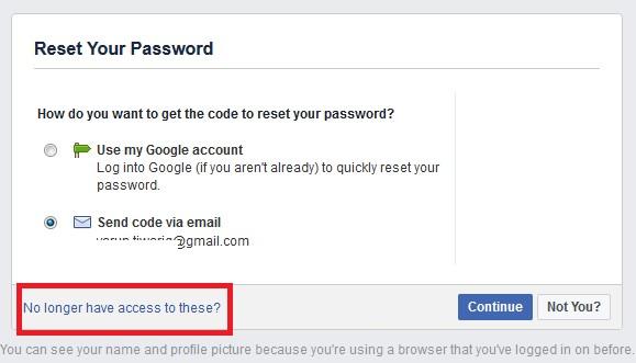 facebook reset your password