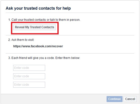 facebook reveal my trustede contacts