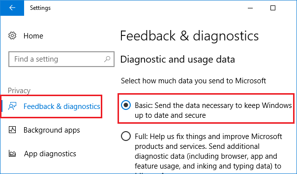 feedback and diagnostics in windows 10