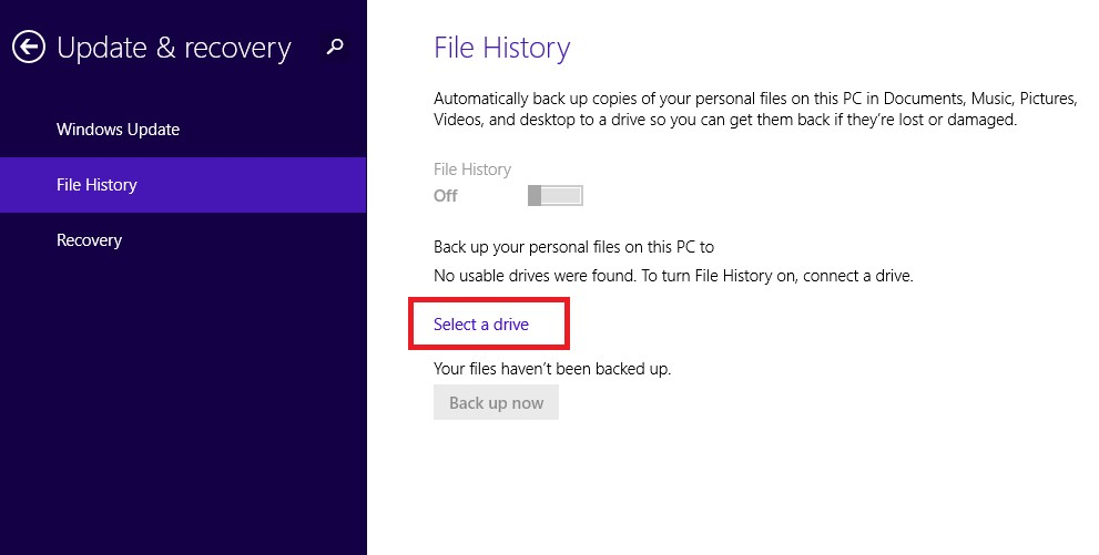 file history select drive