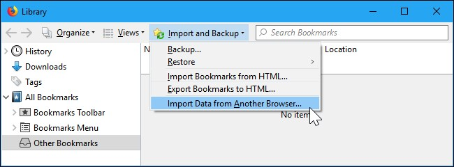firefox import data