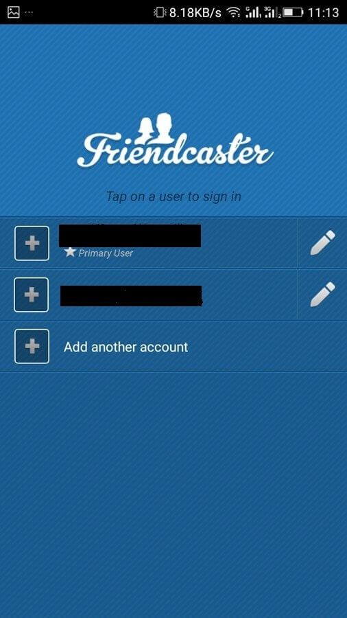 friendcaster another account