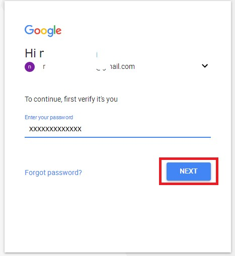 gmail password