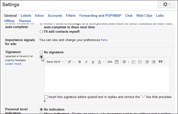 gmail settings signature