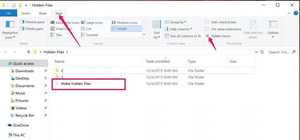 hide an unhidden files in windows