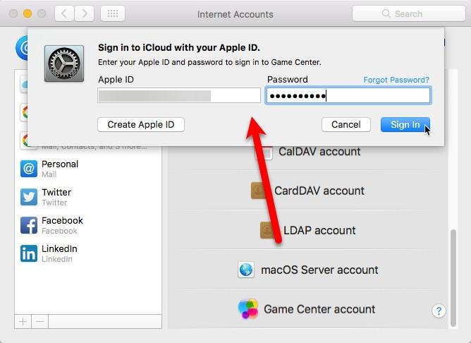 iCloud signin