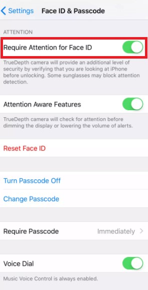 iPhone require attention for face ID