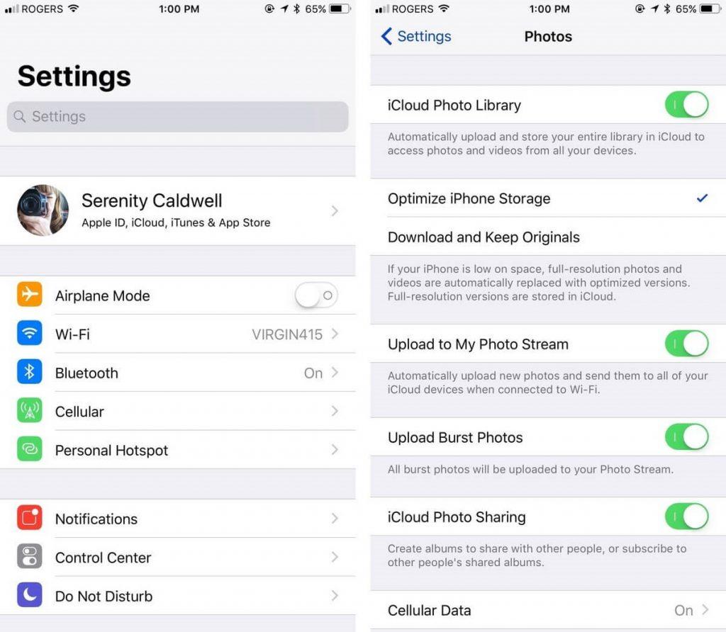 icloud settings on iphone