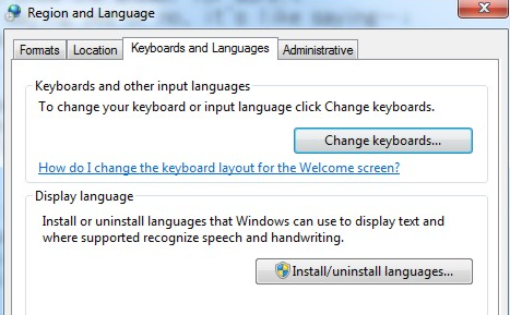 keyboard and language settings