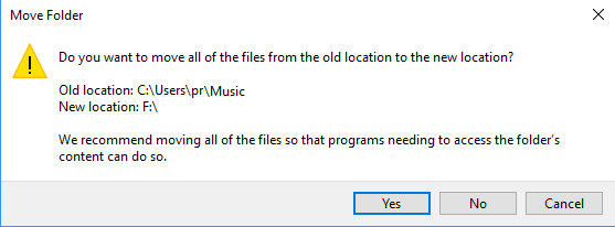 move default folder to different location