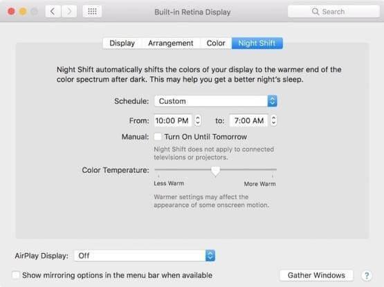 night mode on mac screen