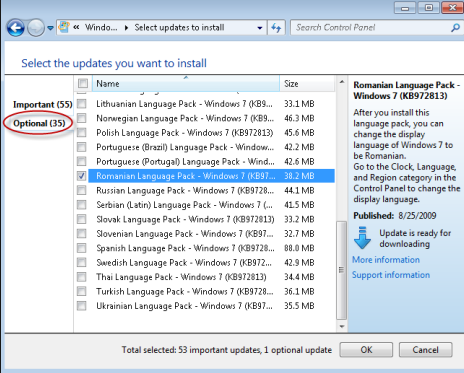 optional update windows 7