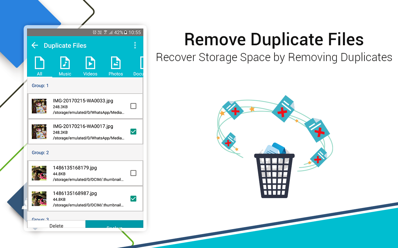 remove duplicate files in Systweak Android cleaner