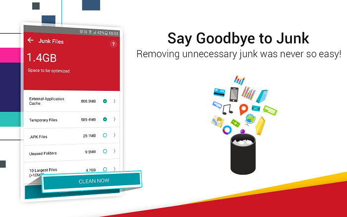 remove junk in systweak android cleaner