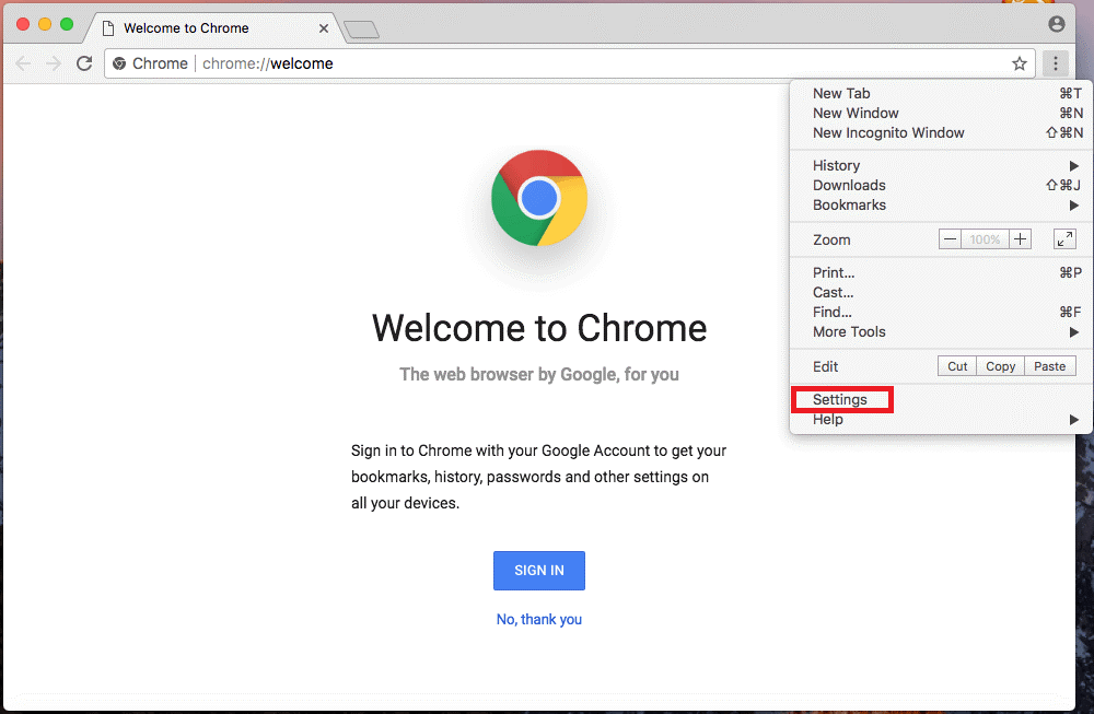 reset google chrome to default