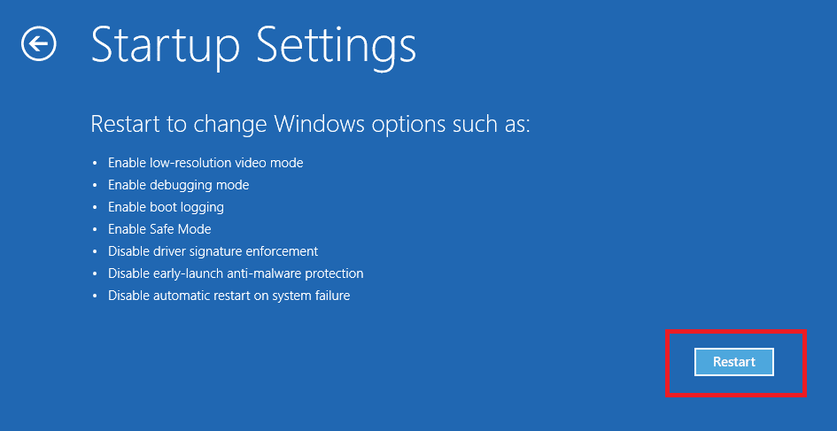 restart in windows 10