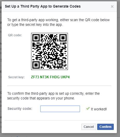 security code generated via Google Authenticator app