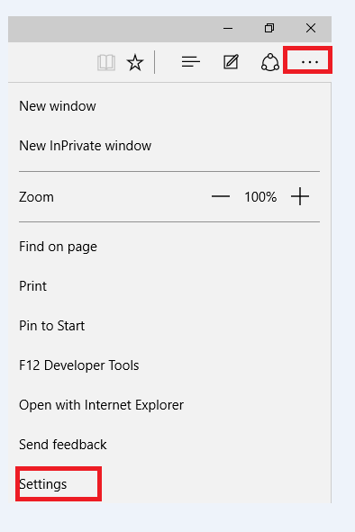 settings option in edge windows 10