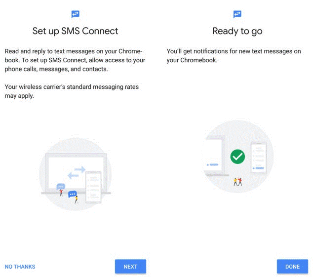 setup sms connect on chromebook