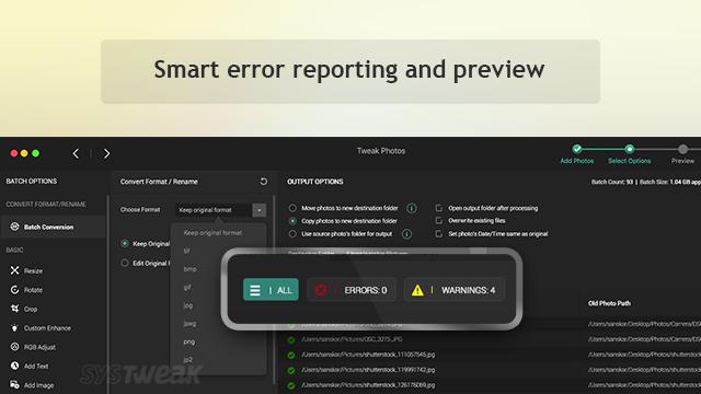 smart error report in tweak photos
