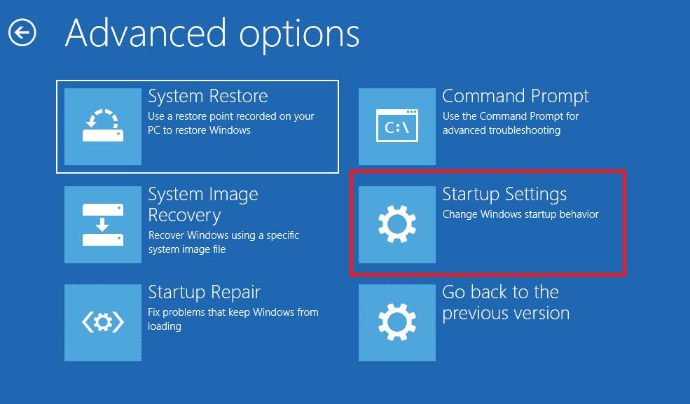 startup setting windows 10